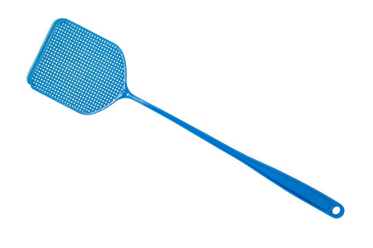 Blue flyswatter isolated on white background. Home Fly swatter macro
