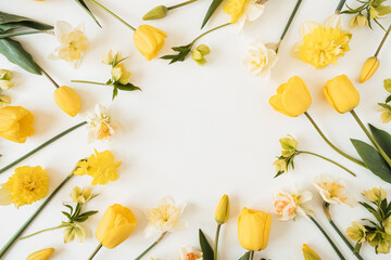 Photo sur Plexiglas Narcisse Round frame wreath with blank copy space made of yellow narcissus and tulip flowers on white background. Flat lay, top view floral festive holiday concept
