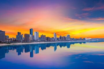 Durban city beachfront skyline during summer with twilight sky