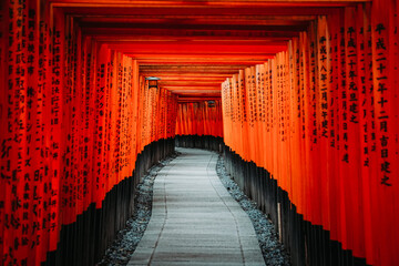 Japanese temple torii gates in Kyoto, Japan. (Fushimi Inari).