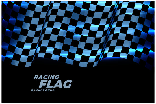 racing checkered flag background in blue neon lights