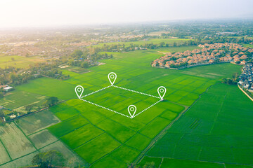Land plot or land lot. Consist of aerial view of green field, position point and boundary line to show location and area. That is a tract of land for owned, sale, development, rent, buy or investment. - fototapety na wymiar