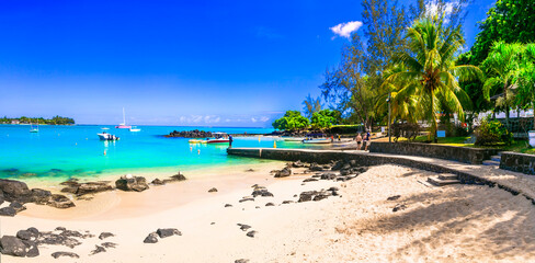 Tropical holidays - popular resort and beaches of Grand Bay in Mauritius island