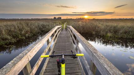 Bicycle on wooden bridge