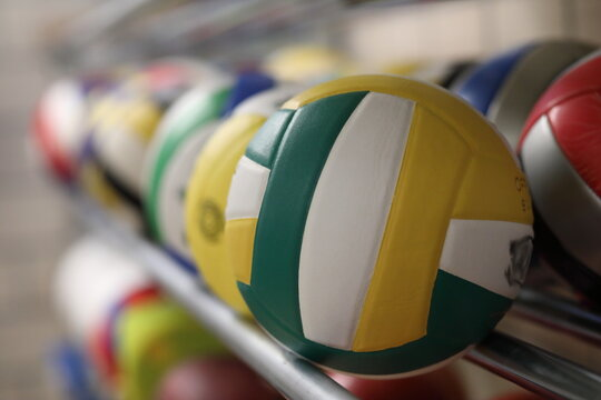 Baar / Switzerland - May 25 2019 - Collection of volleyballs in sport stadium