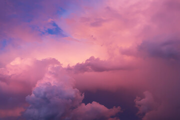 Stores à enrouleur Rose banbon clouds and the sky in bright pink blue and blue tones. fabulous, magical sky. The image can be used to decorate a banner and a postcard. Background.