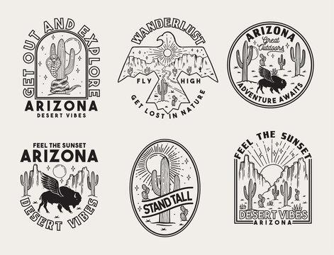 Set of vector Arizona desert badges.