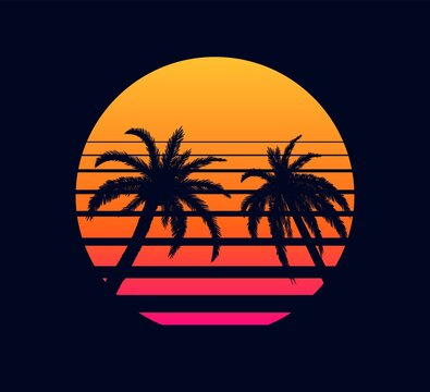 Retro sunset orange pink. Evening rays setting sun two palm trees against background of an abstract in strip electronic synthwave design in style of 80 fantastic grid of futuristic vector landscape.