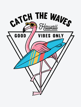 Surfer flamingo vector illustration for t-shirt prints and other uses.