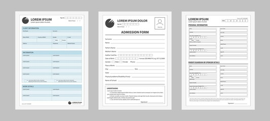 Application form set. Prepared forms for registering filling personal data business contract for entering work documentation traveling abroad information about studies credit vector and loan paper.