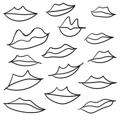 Linear background with lips on a white background. Stock illustration with a set of lips. Image for design, fashion sites, online stores, beautiful wallpapers.