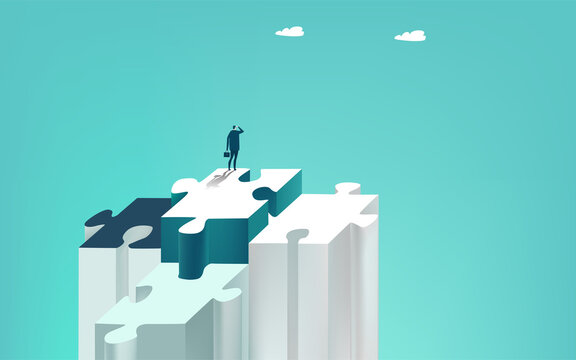 Businessman stands alone on the big puzzle piece and looks for future business opportunities. Solving the problems and advisory concept. Business concept illustration