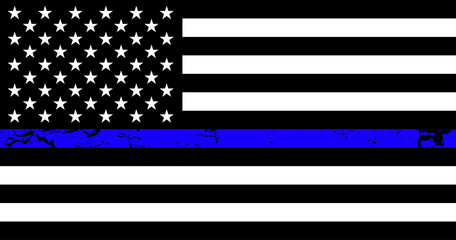Flag USA with blue line - police support symbol, Thin Blue Line