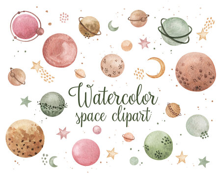 Watercolor Space Clipart. Cosmos set. Stylized planets, stars, comet, moon clipart isolated. Stock illustration on white backgroud