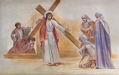BARCELONA, SPAIN - MARCH 5, 2020: The modern fresco of Fall of Jesus under the cross in the atrium of church Església de la Concepció from 19. cent.