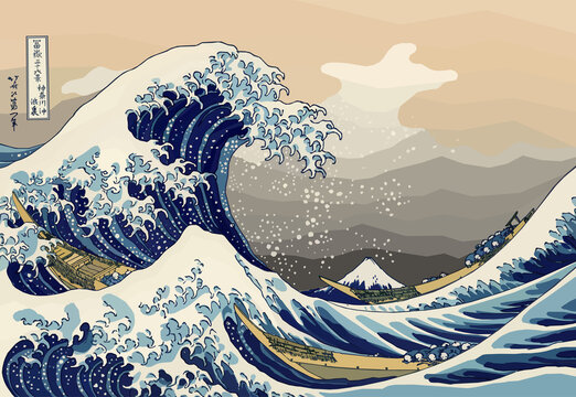 The Great Wave off Kanagawa also known as The Great Wave. Digital reproduction of the painting in Low Poly style. Conceptual Polygonal Vector Illustration