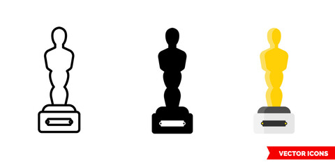 Oscar icon of 3 types. Isolated vector sign symbol.