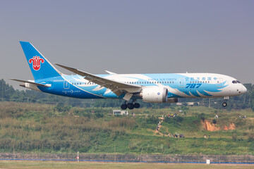 China Southern Airlines Boeing 787-8 Dreamliner airplane Chengdu Shuangliu airport in China