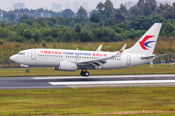 China Eastern Airlines Boeing 737-700 airplane Chengdu Shuangliu airport in China