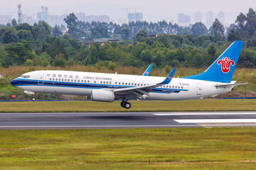 China Southern Airlines Boeing 737-800 airplane Chengdu Shuangliu airport in China