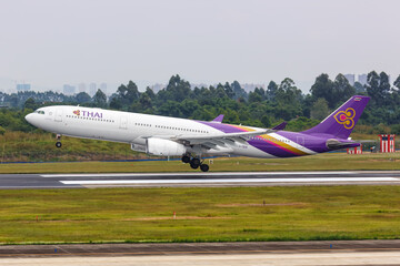Thai Airways International Airbus A330-300 airplane Chengdu Shuangliu airport in China