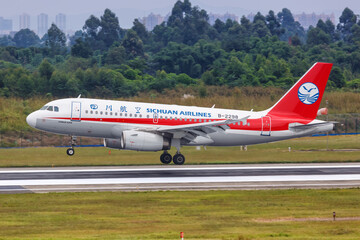 Sichuan Airlines Airbus A319 airplane Chengdu Shuangliu airport in China