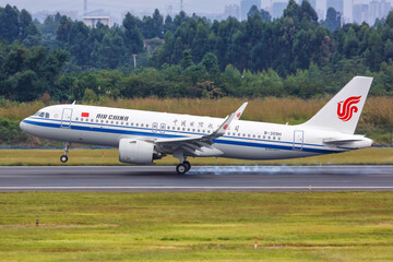 Air China Airbus A320neo airplane Chengdu Shuangliu airport in China