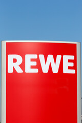 REWE logo sign supermarket food portrait format shop discounter