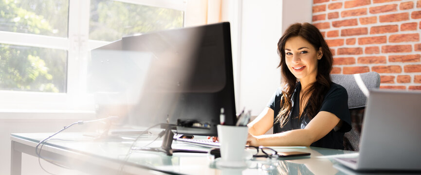 Woman At Workplace. Manager Doing Business Communication