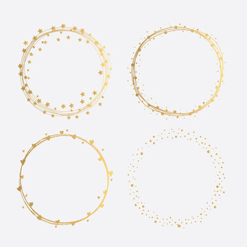 Collection of Golden Round Frames with Dots