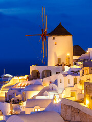 Windmills on Santorini island