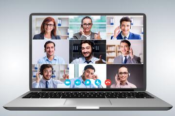 Fototapeta Concept of virtual collaboration through videoconferencing obraz