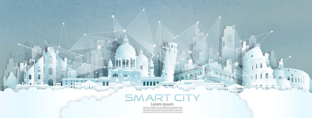 Technology wireless network communication smart city with architecture in England. Fototapete