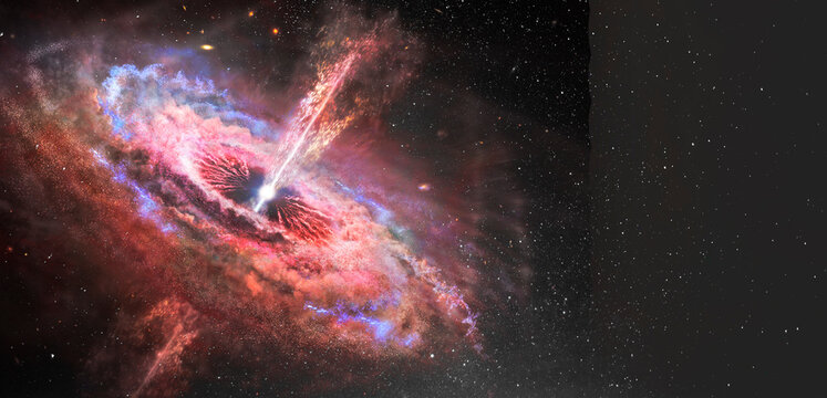 Stars and material falls into a black hole. Abstract space wallpaper. Black hole with nebula over colorful stars and cloud fields in outer space. Elements of this image furnished by NASA.