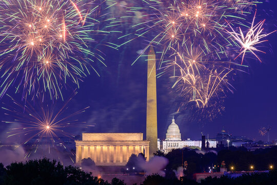 4th of July Independence Day Fireworks in Washington DC, USA. July 4, 2020, 2021. New Year. View from Arlington.
