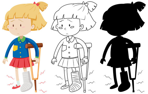 Girl with broken leg bandage cast walking using crutches in color and in outline and silhouette