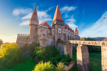 corvins castle in hunedoara town at sunrise. one of the largest european and romanian. fantastic scenery in morning light