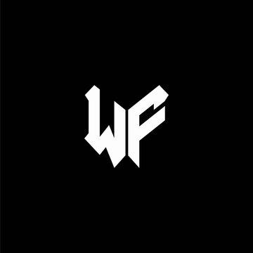 wf logo monogram with shield shape design template