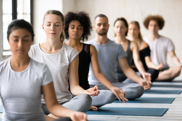 Wall Murals Lotus flower Motivated calm mindful young mixed race people in active wear sitting on floor mat in row, involved in deep meditation with closed eyes in padmasana lotus open hips position and mudra fingers sign.
