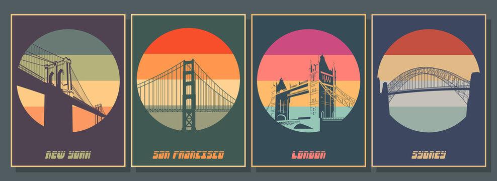 Most Famouse Bridges Poster Set. Golden Gate, Harbour Bridge, Brooklyn Bridge, Tower Bridge Vintage Style Colors