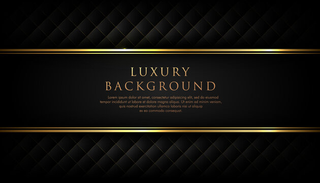 Luxury black stripe with gold border on the dark background. VIP invitation banner. Premium and elegant. Vector illustration.