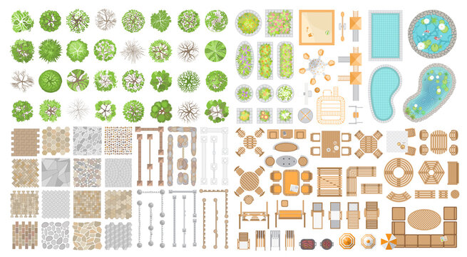 Vector set. Collection for landscape design, plan, maps. (Top view) Trees, flower beds, playground, ponds, swimming pools, pavement, fences, furniture. (View from above)
