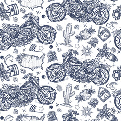 Burning chopper motorcycle, cactus, road, compass. Rider sport art. Bikers seamless pattern. Lifestyle of racers background. Old school tattoo style. Motor and spark plug