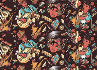 Jazz, funk, blues, soul. Musicians lifestyle. African American funky girl, bluesman, slide guitar, Beautiful black woman and saxophone. Multicultural musical seamless pattern. Music unites people