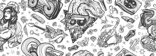 Hip hop girl, swag woman. Tyrannosaur, dj vinyl, boom box, rock guitar, saxophone. Retro music seamless pattern. Funny pop culture musical background. Street lifestyle. Old school tattoo art
