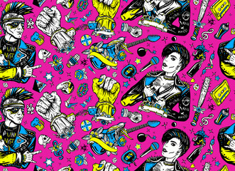 Punk and rock music seamless pattern. Punker with mohawk hairstyle, rock woman, guitarist girl. Hooligans lifestyle. Street culture concept. Electric guitar. Anarchy art. Old school tattoo style