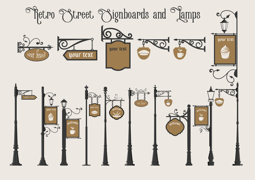 Old Street Signboards and Street Lamps on Pillar, Vintage Set, Pointers and Signs