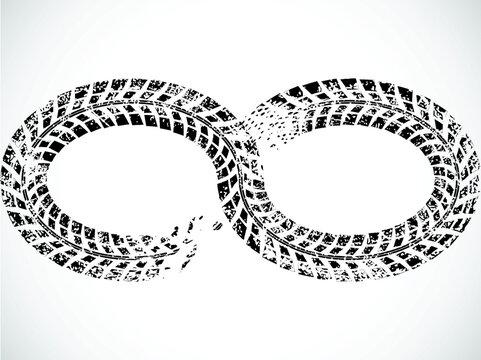 Infinity symbol . Looped Vector Print Textured Tire Track .Grunge Design Element . Bike thread silhouette