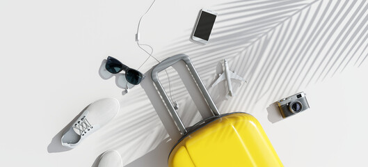 Wall Mural - Flat lay yellow suitcase with travel accessories on white background. 3d rendering