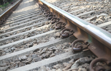 Foto auf Acrylglas Eisenbahnschienen photo railroad track in Jakarta